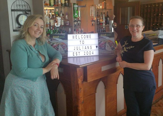 Jackie Davies of Julian's Restaurant Hoylake with Jade Wright of Good Food Magazine