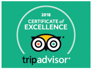 We recently received a Certificate of Excellence from TripAdvisor