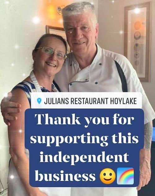 Menus at Julian's Restaurant in Hoylake, Wirral