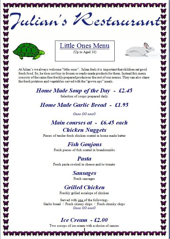 Children's menu at Julian's Restaurant Hoylake