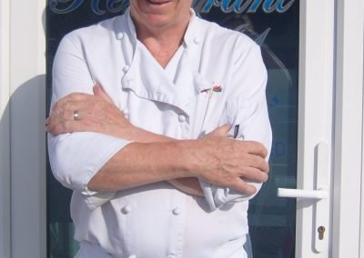 Julian Davies outside Julian's Restaurant in Hoylake